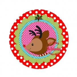 Flatback kerst rendeer polkadot rood (k455)