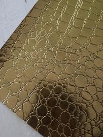 krokodillenprint leer goud 20x22 cm