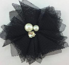 Bloem tule met parels & strass zwart