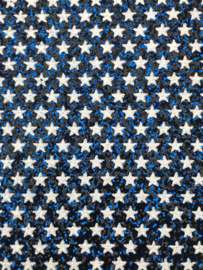 Glitter leer sterren blauw/wit