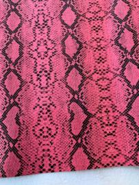Slangen print leer coral/roze glans
