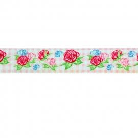Sierband roosjes  & ruitje roze