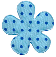 Polkadot bloem 3.5cm blauw met royal blue stip