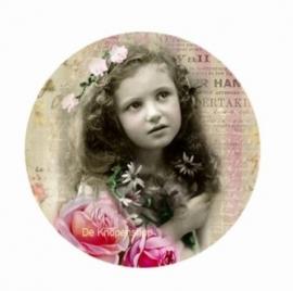 Flatback meisje lang haar & rozen(k121)