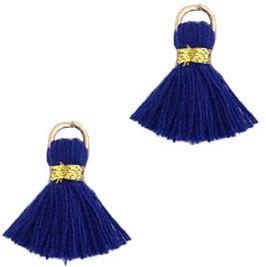 Kwastje Ibiza/bohemian  style 1.5cm Gold-donkerblauw