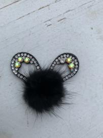 Konijnenoren met strass fluffy  zwart