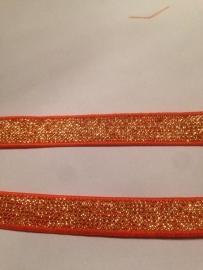 Elastisch oranje met goudglitter