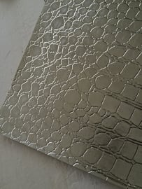 krokodillenprint leer zilver 20x22 cm