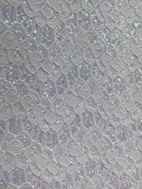 Leer kant off white  glitter off white meekleurend 20x30cm