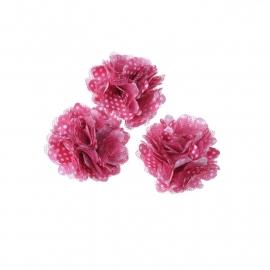 Stoffen bloem met schijfje 5cm *fuchsia & polkadot* pst
