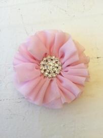 Luxe bloem met strass  licht roze