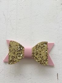 Strik  leer/glitter 7 cm goud/roze