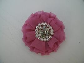 Luxe bloem met strass en parels dusty pink