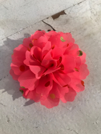 Bloemen chiffon 7 cm neon pink polkadot goud