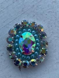 Luxe rhinestone diamant meekleurend parels mint blue