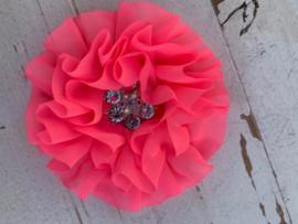 Luxe bloem met bloem strass neon roze