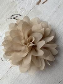 Bloemen chiffon 10 cm beige