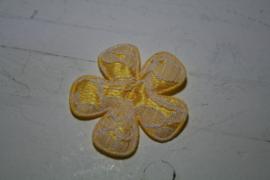 Bloem satijn/kant geel 4.7cm
