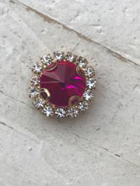 Flatback rhinestone  rond goud  15mm hot pink