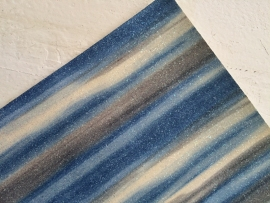 Regenboog glitter leer zilver/jeansblauw  20x22 cm