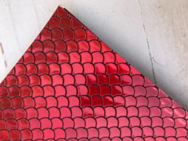 Zeemeermin staart patroon leer rood/zwart