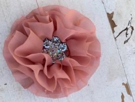 Luxe bloem met bloem strass  dusty pink/oud roze