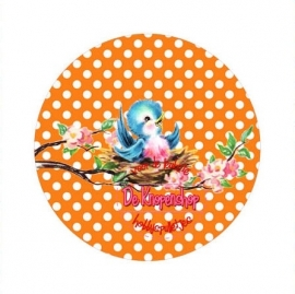 Flatback  vogeltje polkadot oranje (k637)
