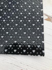 Leer hartje glitter zwart/zilver
