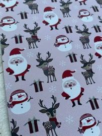 Leer kerst hert-sneeuwpop-kerstman licht roze