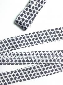 Biasband wit met grijze sterretjes  (120007)
