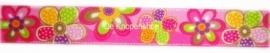 Sierband fuchsia & kleuren bloemen