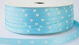 Hartjes satijnband lichtblauw/wit
