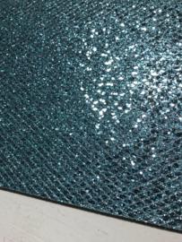 Glitter leer grof ruit motief blauw/zilver