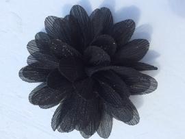 Glitter Bloem zwart 7 cm