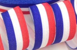 Elastische vlag verticaal rood-wit-blauw biasband (haarband)