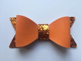 Strik leer/glitter 7 cm oranje