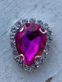 Flatback rhinestone druppel luxe hot pink spiegelend 2.3cm