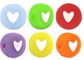 kraal hartjes Multicolor-Wit