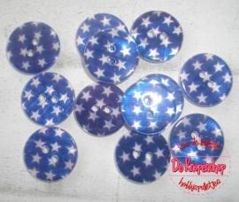 Ster parelmoer knoop blauw1,8cm