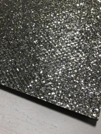 Glitter leer grof ruit motief zilver/goud