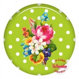 Flatback bloemen polka dot lime (k131)
