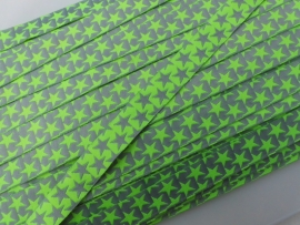 Sterrenband neon geel-zilver grijs tweezijdig