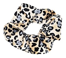 Scrunchies Haarwokkel tijger/panter velvet  zwart/grijs