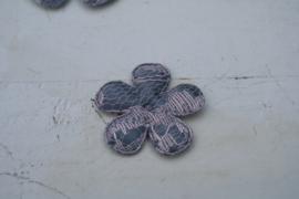Bloem satijn grijs/kant roze-wit 3.5cm
