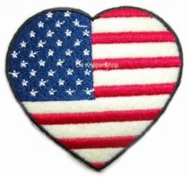 Opstrijk applicatie Amerikaanse vlag hart