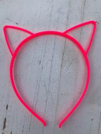 Diadeem poezenoortjes neon roze