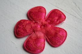 Bloem satijn hot pink /kant coral 6.5cm pst