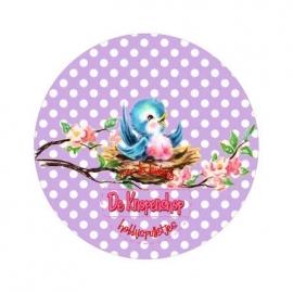 Flatback  vogeltje polkadot lila (k664)