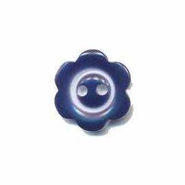 Bloemknoop met rand donkerblauw 15 mm