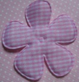 Geruite bloem 6,5cm licht roze satijn